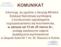 Więcej o Komunikat – Zawieszenie zajęć dydaktyczno-wychowawczych