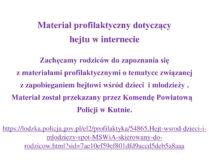 Więcej o Materiał profilaktyczny dotyczący hejtu w internecie